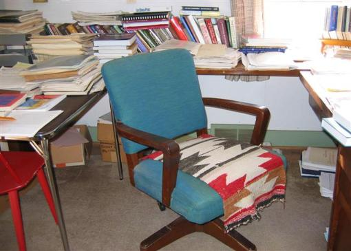 The office chair that Edith worked in for the past 40 years or so now stands empty.
